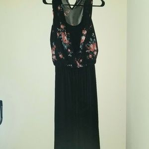 Wide leg floral jumpsuit black